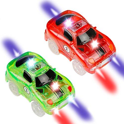 Race Cars Spielzeug (Car Track mit 2 LED Race Cars Spielzeug, 240 Stück Flexible Variable Track Set, Kinder Autobahn, Glow in the Dark für Kinder 3 4 5 6 7 8 (2 Autos))