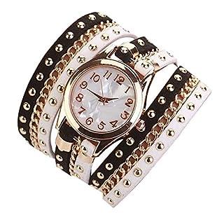 Minetom Damenmode Gewebte Seil Armband Niet-Armband Kristall Runde Quarz Armbanduhr Wristwatch ( Schwarz-Weiss )