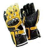 KC404 guantes moto piel amarillo Karno Racing – Protecciones carbono