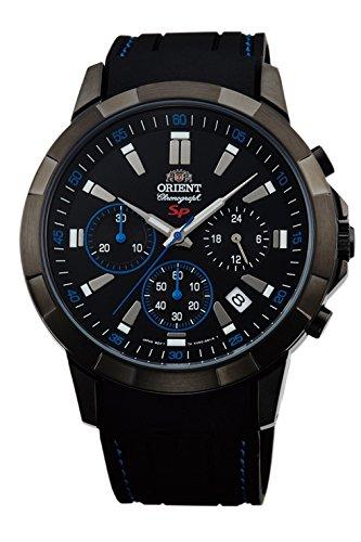 'Orient Herren 'SP Chronograph Uhr mit Box und Armband Kautschuk Schwarz kv00007b
