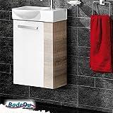 Fackelmann A-VERO Badmöbel Set Gäste-WC Farbe Graueiche-Optik/Weiß (2-teilig) - Waschbecken links