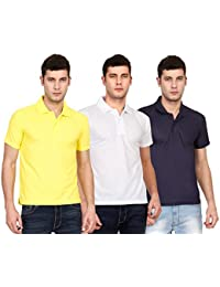 Ojass Solid Men's Polo Neck Yellow, White, Blue T-Shirt (Pack Of 3)
