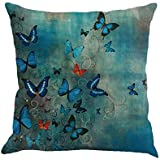Kissenbezug 45 x 45 cm Schmetterling Malerei Throw Taille Kissenhülle Sofa Home Decor Pillow Cover LuckyGirls (A)