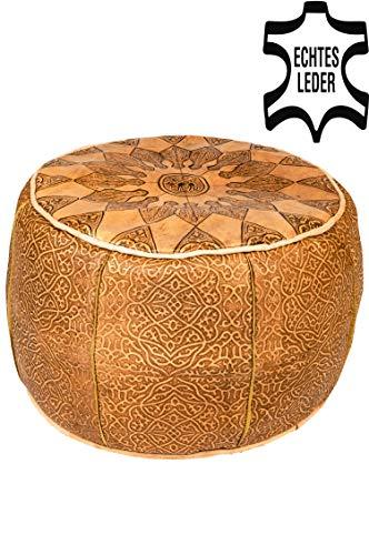 Orientalischer runder Pouf aus Leder Rund Hoch inklusive Füllung | Marokkanisches Sitzkissen Sitzpouf Kissen Braun | Marokkanischer Hocker Sitzhocker