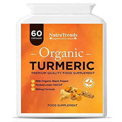 Organic Turmeric Curcumin With Black Pepper 600 Mg Vegetarian 60 capsule UK Made High quality by Nutratrends