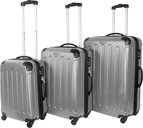 normani 3 TLG. Reisekofferset Koffer Kofferset Trolley Trolleys Hartschale in M-L-XL-Set wählbar Farbe Silber