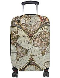 ALAZA Mapa del Mundo de la Vendimia de Equipaje Cubierta Se Adapta a 22-24