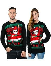 Uideazone Uomo Donna Maglione Natale Ugly Christmas Coppia Maglioni Sweaters Manica Lunga Girocollo Xmas Pullovers