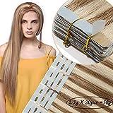 Extension Adesive Capelli Veri 20 Fasce 2.5g/Fascia Tape Extension con Biadesivo 50g 100% Remy Capelli Naturali Umani Lisci #12P613 Marrone Oro mix Biondo Chiaro