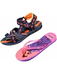 Indistar KRS Men Sandal And Step Care Flip Flop And House Slipper For Women -Set Of 2 Pairs - B072L65G9P