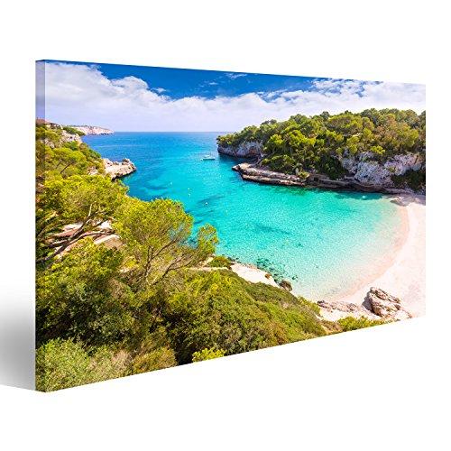 islandburner Bild auf Leinwand Mallorca Cala Llombards Santanyi Strand auf Mallorca Balearen Spaniens Wandbild, Poster, Leinwandbild FYX