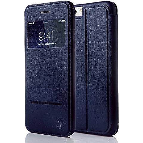 Funda inteligente con ventana y barra de botones Nouske para iPhone 6 Plus y 6S Plus de 5.5 pulgadas de Apple, Azul Marino
