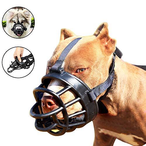 Jinzhao Maulkorb-Soft Basket Muzzle für Hunde Anpassbar und Komfortabel Sicherer Sitz, Beste Vorbeugung Gegen Beißen, Kauen und Bellen Kopf Schnauze 15.4-20.1'' -