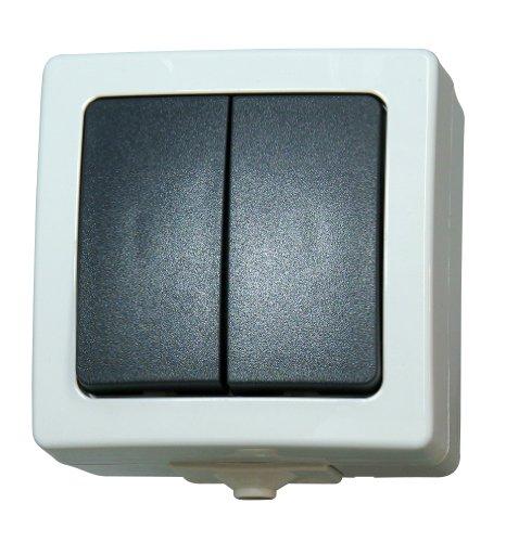 Kopp Nautic Serienschalter mit 2 Wippen, Aufputz, Lichtschalter für Feuchtraum, 250V (10A), IP44, Basiselement mit Komplettgehäuse, herausnehmbarer Sockel, für 2 Leuchtmittel, grau, 565556008 -