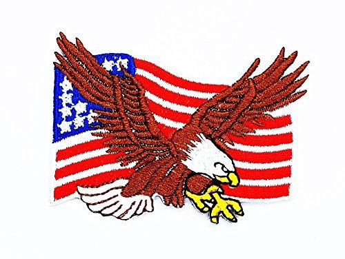 rabana Eagle USA Flagge Hawk Bird Flying Wildtiere Choppers Patch Kinder Cute Patch für Heimwerker-Applikation Eisen auf Patch T Shirt Patch Sew Iron on gesticktes Badge Schild (Bird Big Kostüm Kinder)