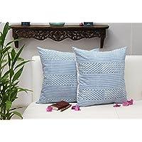San Valentino regalo, Decorativo bianco tiro del cuscino coperture per divani 45 x 45 Set di 2 casi 100% cotone stampato blocco blu Chevron disegni Casa Letto