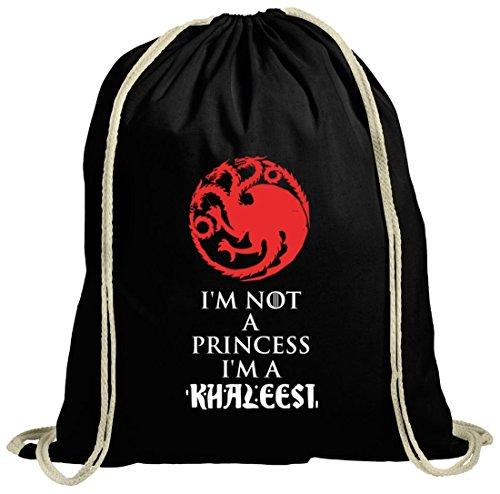 Serien natur Turnbeutel mit I'm Not A Princess I'm A Khaleesi Motiv von ShirtStreet schwarz natur