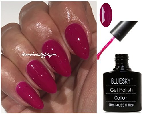 Bluesky Neon 13 Blackcurrant Dark Pink Raspberry Nail Gel Polish UV LED Soak Off 10ml PLUS 2 Luvlinail Shine Wipes