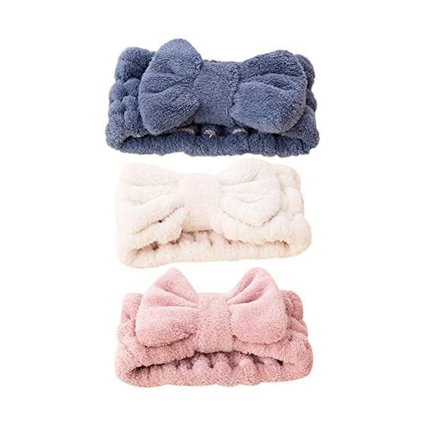 FRCOLOR - Fascia per capelli da donna elastica per il trucco del viso, trattamenti cosmetici e doccia, 3 pezzi 1 spesavip
