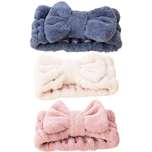 bänder Elastische Korallen Samt Make-Up Gesicht Waschen Dusche Stirnband für Frauen Mädchen 3 Stücke (Blau Rosa Weiß) ()