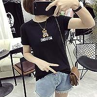 SeniorMar Camiseta de Manga Corta para Mujer con Cuello en O y Manga Corta con patrón de Dibujos Animados con Osos Bordados Sudadera con Capucha elástica - Negro XL