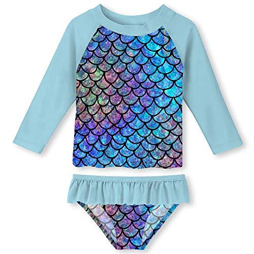 Funnycokid Kleinkind Mädchen 2 Stück Langarm Bademode Stilvolle Set Bunte Meerjungfrau Tankini mit UPF 50+ Sonnenschutz