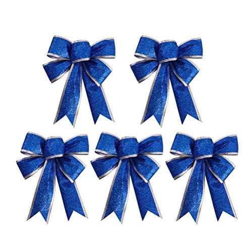 SUPVOX 5 teile/paket Große Weihnachten Bogen Glitter Glitzernde StoffGold Geschenkband Baumschmuck Geschenke Kinder (Blau) (Tree Bow Topper)
