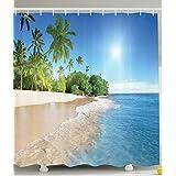 bbfhome Océano decorativo de colección de palmeras tropicales en un sonnigen Isla de playa de escena imagen panorámica Ver tejido de poliéster 180x 180cm cortina de ducha de baño Set con gancho azul verde blanco multicolor