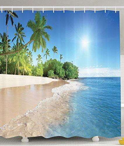 BBFhome Ozean-Dekor-Kollektion Tropische Palmen an einem sonnigen Insel-Strand-Szene Panorama Bild ansehen Polyester-Gewebe 180 x 180 cm Bad Duschvorhang Set mit Haken Blau Grün Weiß - Duschvorhänge Palme
