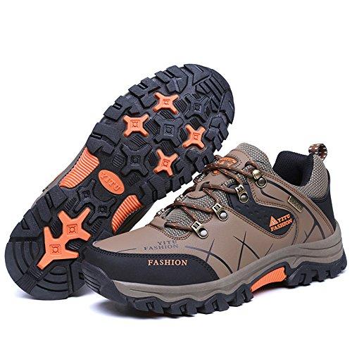 GOMNEAR Chaussures de Randonnée Respirante de Grande Taille Sneaker Léger Pour Camping Athletic Extérieur Running Sport Trail Voyage Escalade Walking Brun