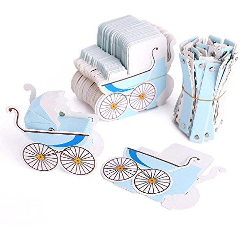 Lance Home 50 Stück Hochzeit Taufe Gastgeschenk Geschenkbox Kartonage Schachtel Tischdeko Bonboniere Box Hochzeit Dekoration Baby Shower Bonboniere Box (Blue)