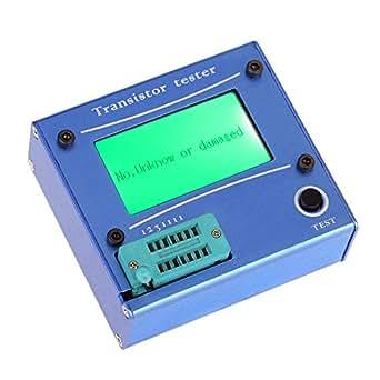 KKmoon Rétro-éclairage LCD multifonction Transistor testeur Diode Thyristor ESR LCR capacimètre avec boîtier en aluminium bleu