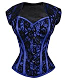 Spiral Steel Boned Blue Overbust Corset with Bolero Jacket-24