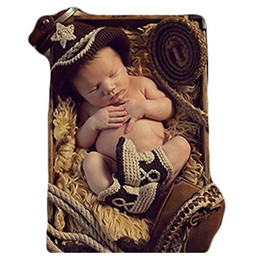 Neugeborenen Foto Kostüm Junge Mädchen Outfit Baby Fotografie Requisiten Cowboy Hüte (Neugeborene Hut Cowboy)