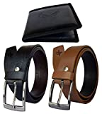 #5: Discover Fashion Men Pu Leather Belt wallet combo of 3