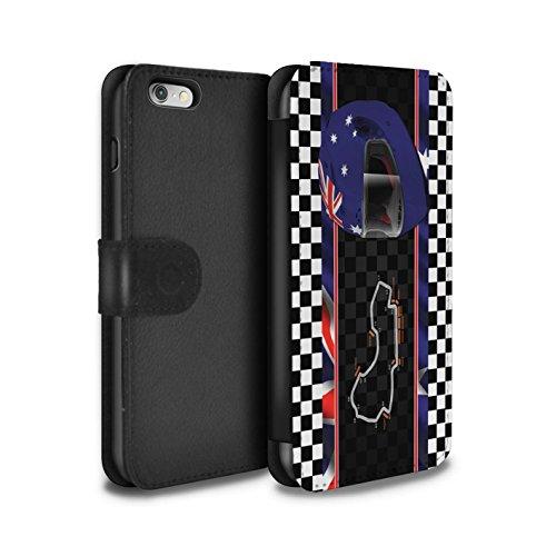 Stuff4 Coque/Etui/Housse Cuir PU Case/Cover pour Apple iPhone 6 / Monaco/MonteCarlo Design / F1 Piste Drapeau Collection Australie/Melbourne