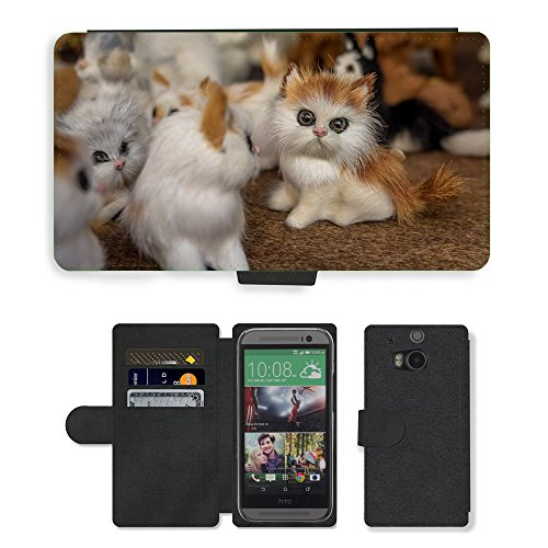 CARD POCKET BOOK CASE PU LEATHER CASE // M00149410 Gatito Gato Juguetes juguete de felpa // HTC One M8