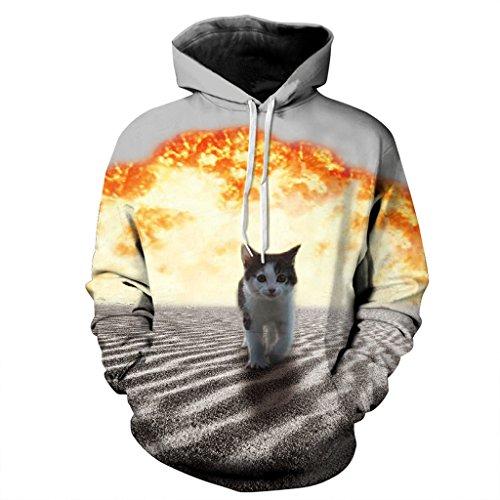 Frauen Schöne Katze Sweatshirt Brennende Feuer Jumper Lange Ärmel M (Angora Wickel-pullover)