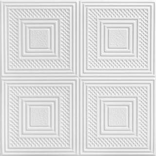 A la Maison Ceilings 867 Nested Squares - Styrofoam Ceiling Tile (Package Of 8 Tiles), Plain White