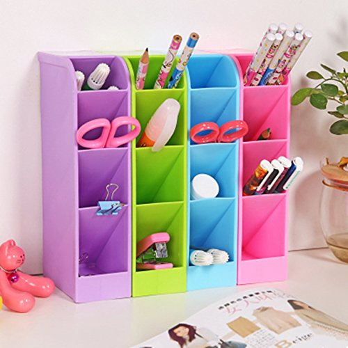 Orpio 4PCS Candy Color Office Desk Organizer Stationery Holder Multifunctional Plastic Pen...