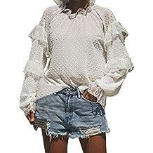 Morwind Sueter Mujer Invierno,Moriwnd Camiseta Encaje Jersey con Cuello Mao Sudadera básica Blusa vaporosa