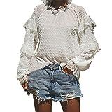 TianWlio Langarm Bluse Damen Frauen Mode Lässige Spitze Spleißen Hoher Kragen Solid Langarm T-Shirt Bluse Tops