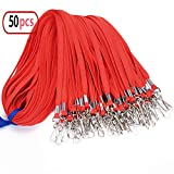 Cordino in cotone piatto, con gancio girevole per portachiavi, per badge, 81,3cm, 50pezzi 50 Red