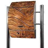 BANJADO Edelstahl Briefkasten groß, Standbriefkasten freistehend 126x53x17cm, Design Briefkasten mit Zeitungsfach Motiv Trockenes Holz