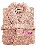 Spa Collection Bademantel, Bestickt, luxuriös, 100% ägyptische Baumwolle, 500 g/m², extra saugfähig, mit Gürtel, Pink/Schwarz/Weiß/Marineblau, 100% Baumwolle, Hellrosa, one Size fits All M/L/XL