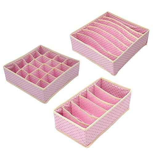 LFDSNH 3 Teil/Satz Home Storage Box Bins Boxen Set Für Unterwäsche BH Socken Krawatten Home Closet Drawer Clothing Organizer Rosa
