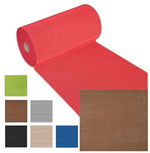Olivo tappeti tappeto passatoia 15 o 30 metri gommoso antiscivolo morbida multiuso bordo piscina sottobicchieri scendidoccia sotto lavelli mod.comfort (marrone, 55 cmx 15 metri)