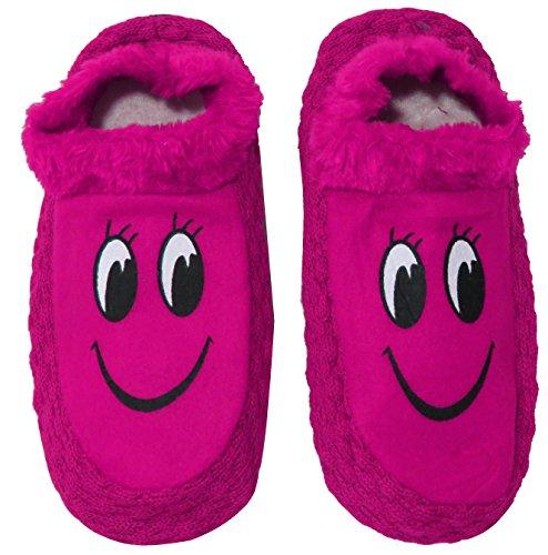 Neskamoda Baby Girl's Pink,Black Cotton Fur Winter Indoor Slippers - 12-14 Years