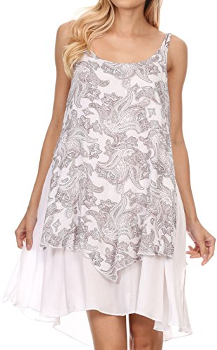 Sakkas de Bell Court Mid Longueur Paisley Printed Lined Spaghetti Caftan Strap Robe Blanc