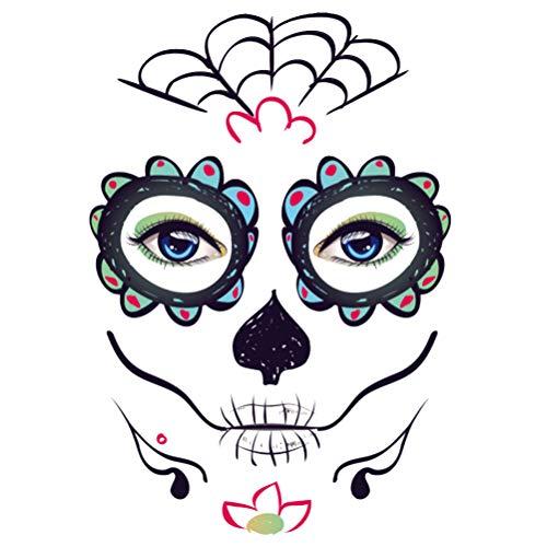 Supvox 6 stücke Schwarz Temporäre Tätowierung Aufkleber Halloween Gesichts Make-Up Abziehbilder Halloween Cool Facial Beauty Tattoos für Pirate Birthday Party Favors Supplies